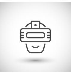 Virtual reality helmet line icon vector image