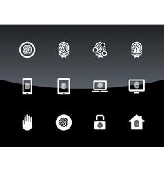 Fingerprint icons on black background vector image vector image