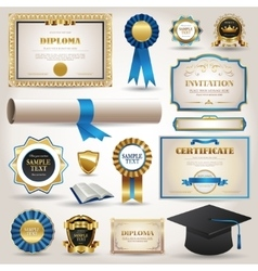 Graduation and certificate diploma elements vector image vector image