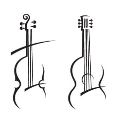 violin and guitar vector image