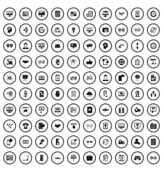 100 interface icons set simple style vector