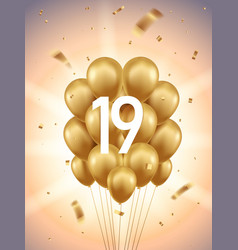 19th year anniversary background vector image