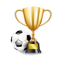 3d golden trophy cups and soccer ball 002 vector image