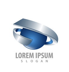 3d ribbon sphere logo concept design symbol vector image