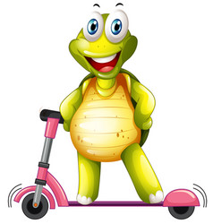 A happy turtle on kick scooter vector