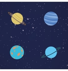 Abstract Cartoon planets vector image