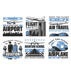 Airlines airport aviation icons vector