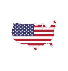 american flag on map usa map with flag vector image