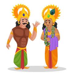 Arjuna and lord krishna cartoon character vector