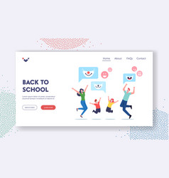 Back to school landing page template happy family vector