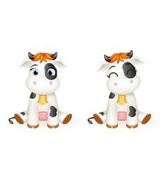 balittle cow 3d cute calf toy cub cartoon vector image