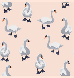 beautiful seamless pattern with swans bird vector image
