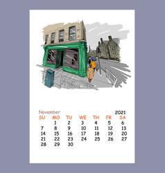 Calendar sheet layout november month 2021 year vector