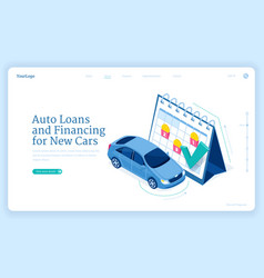 Car loan isometric landing page new auto financing vector
