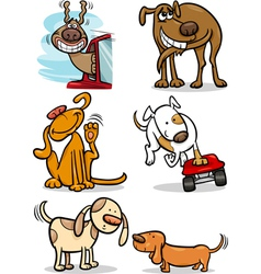 Cartoon cute dogs set vector