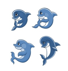 Cartoon dolphin calves set vector image