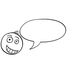 Cartoon of male man head with empty speech bubble vector