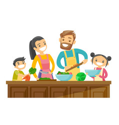 Caucasian white parents with kids cooking together vector