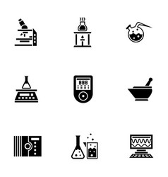 Chemical laboratory glyph style icons set vector