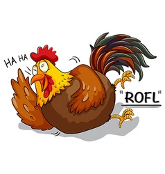 Chicken laughing on white vector image