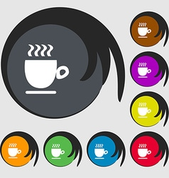 Coffee cup sign Symbols on eight colored buttons vector image