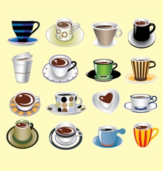 Coffee cup types icons set vector