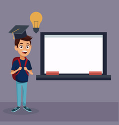 color background with full body student boy with vector image