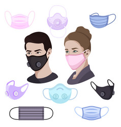 colorful air pollution face masks set man and vector image