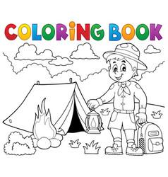 Coloring book scout boy theme 4 vector