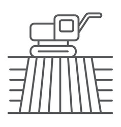 combine harvester on field thin line icon farming vector image