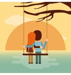 couple on swing seeing the sunset icon vector image