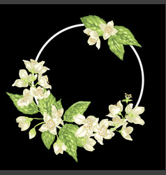 Decor ring element with branches of jasmine with vector
