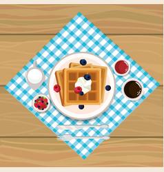 Delicios waffles breakfast with chocolate sauces vector