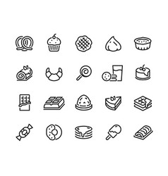 Desserts line icons sweet food cakes waffles vector