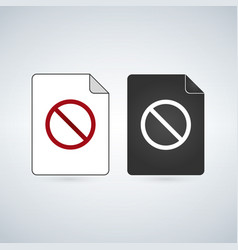 Document file icon with forbid sign flat sign for vector