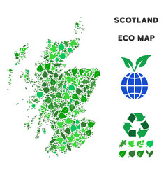 Ecology green collage scotland map vector