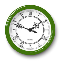 elegant roman wall clock in green glossy body vector image