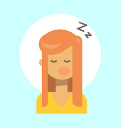 female sleeping emotion profile icon woman vector image
