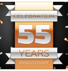 Fifty five years anniversary celebration golden vector image