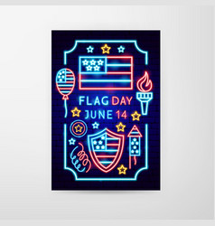 flag day neon flyer vector image