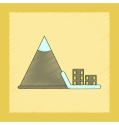 Flat shading style icon Mountain avalanche house vector