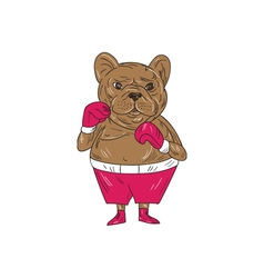 French Bulldog Boxer Boxing Stance Cartoon vector