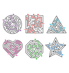 Game maze labyrinth collections various shapes vector