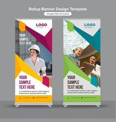 Geometric working woman roll up banners vector