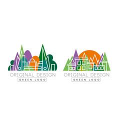 green logo original set corporate identity vector image