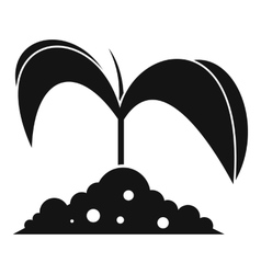 Green seedling in soil icon simple style vector
