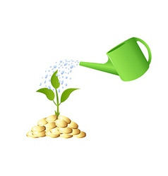 Green Young plant with money and watering can vector image