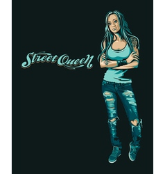 Grungy girl vector image