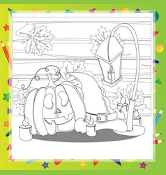 halloween coloring book pumpkin and the hat vector image