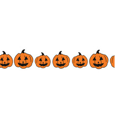 halloween pumpkins seamless border hand vector image